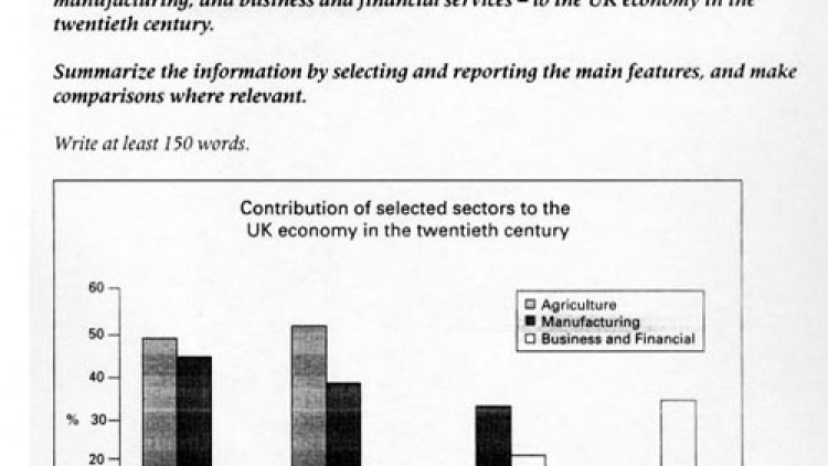 Bar Chart of the UK Economy Structure [IELTS-TASK1]