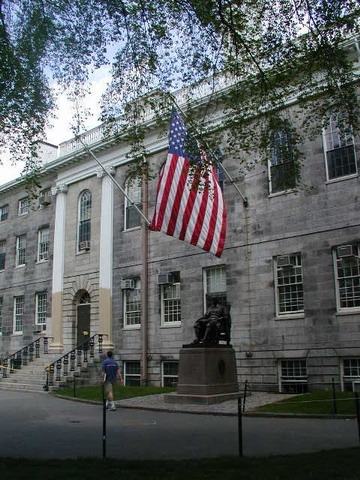 The John Harvard statue in Harvard Yard